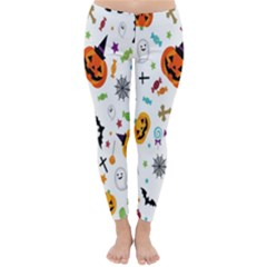 Candy Pumpkins Bat Helloween Star Hat Classic Winter Leggings