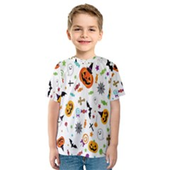 Candy Pumpkins Bat Helloween Star Hat Kids  Sport Mesh Tee