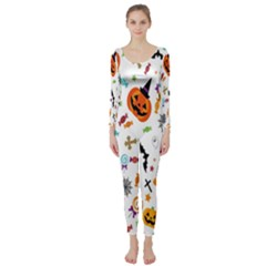 Candy Pumpkins Bat Helloween Star Hat Long Sleeve Catsuit by Alisyart
