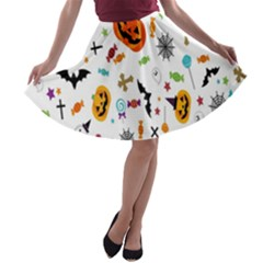 Candy Pumpkins Bat Helloween Star Hat A Line Skater Skirt by Alisyart