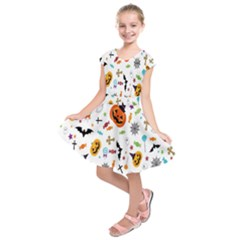 Candy Pumpkins Bat Helloween Star Hat Kids  Short Sleeve Dress by Alisyart