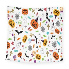 Candy Pumpkins Bat Helloween Star Hat Square Tapestry (large)