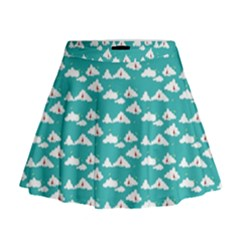 Cloud Blue Sky Sea Beach Bird Mini Flare Skirt