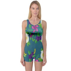 Caterpillar Flower Floral Leaf Rose White Purple Green Yellow Animals One Piece Boyleg Swimsuit