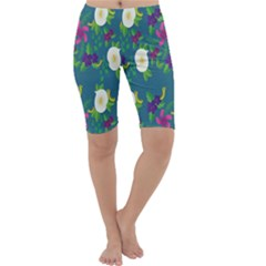 Caterpillar Flower Floral Leaf Rose White Purple Green Yellow Animals Cropped Leggings