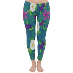 Caterpillar Flower Floral Leaf Rose White Purple Green Yellow Animals Classic Winter Leggings