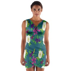 Caterpillar Flower Floral Leaf Rose White Purple Green Yellow Animals Wrap Front Bodycon Dress