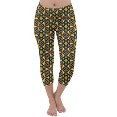 Caleidoskope Star Glass Flower Floral Color Gold Capri Winter Leggings