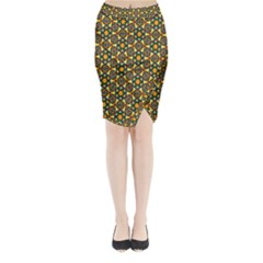 Caleidoskope Star Glass Flower Floral Color Gold Midi Wrap Pencil Skirt by Alisyart