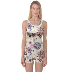 Flower Arrangements Season Floral Purple Love Heart One Piece Boyleg Swimsuit
