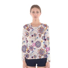 Flower Arrangements Season Floral Purple Love Heart Women s Long Sleeve Tee