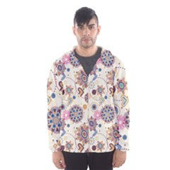 Flower Arrangements Season Floral Purple Love Heart Hooded Wind Breaker (men)