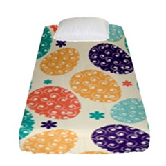 Egg Flower Floral Circle Orange Purple Blue Fitted Sheet (single Size) by Alisyart