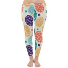Egg Flower Floral Circle Orange Purple Blue Classic Winter Leggings