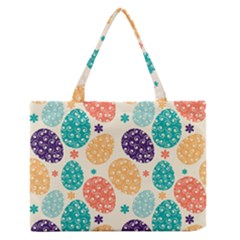 Egg Flower Floral Circle Orange Purple Blue Medium Zipper Tote Bag