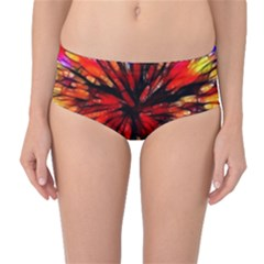 Color Batik Explosion Colorful Mid Waist Bikini Bottoms by Amaryn4rt