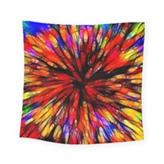 Color Batik Explosion Colorful Square Tapestry (small)