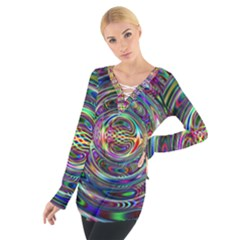 Wave Line Colorful Brush Particles Women s Tie Up Tee by Amaryn4rt