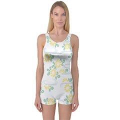 Flower Arrangements Season Sunflower One Piece Boyleg Swimsuit
