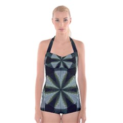 Lines Abstract Background Boyleg Halter Swimsuit  by Amaryn4rt