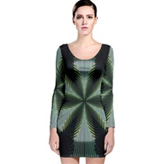 Lines Abstract Background Long Sleeve Velvet Bodycon Dress