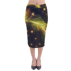 Particles Vibration Line Wave Velvet Midi Pencil Skirt