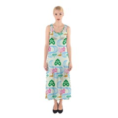 Flower Arrangements Season Sunflower Green Blue Pink Red Waves Sleeveless Maxi Dress