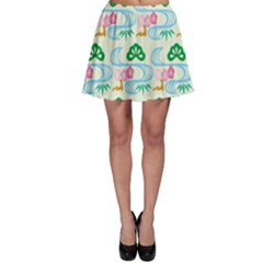 Flower Arrangements Season Sunflower Green Blue Pink Red Waves Skater Skirt