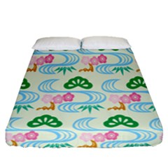 Flower Arrangements Season Sunflower Green Blue Pink Red Waves Fitted Sheet (queen Size)