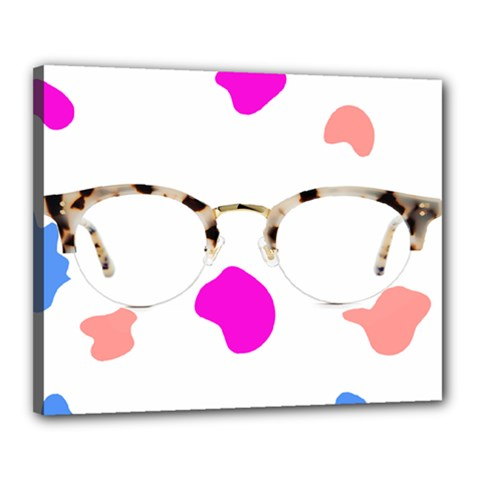 Glasses Blue Pink Brown Canvas 20  X 16