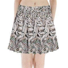 Ice Leaves Frozen Nature Pleated Mini Skirt