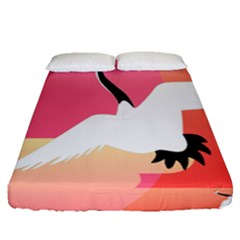Goose Swan Pink Orange White Animals Fly Fitted Sheet (queen Size)