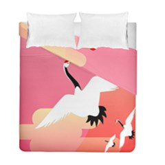 Goose Swan Pink Orange White Animals Fly Duvet Cover Double Side (full/ Double Size)