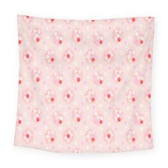 Flower Arrangements Season Pink Square Tapestry (large)