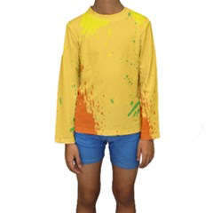 Paint Stains Spot Yellow Orange Green Kids  Long Sleeve Swimwear