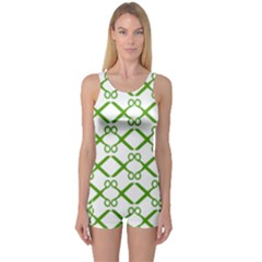 Scissor Green One Piece Boyleg Swimsuit