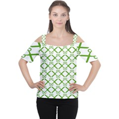 Scissor Green Women s Cutout Shoulder Tee