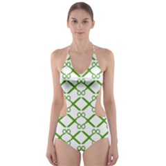 Scissor Green Cut Out One Piece Swimsuit