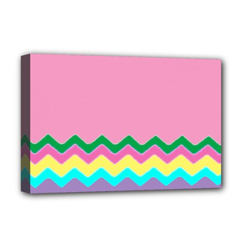 Easter Chevron Pattern Stripes Deluxe Canvas 18  X 12   by Amaryn4rt