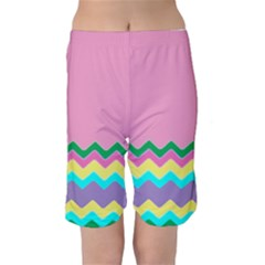 Easter Chevron Pattern Stripes Kids  Mid Length Swim Shorts by Amaryn4rt