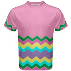 Easter Chevron Pattern Stripes Men s Cotton Tee by Amaryn4rt
