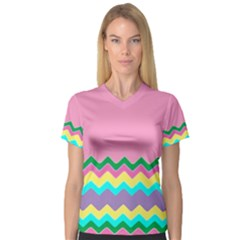 Easter Chevron Pattern Stripes Women s V Neck Sport Mesh Tee by Amaryn4rt