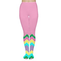 Easter Chevron Pattern Stripes Women s Tights