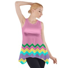 Easter Chevron Pattern Stripes Side Drop Tank Tunic by Amaryn4rt