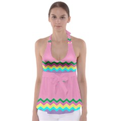 Easter Chevron Pattern Stripes Babydoll Tankini Top by Amaryn4rt