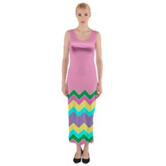 Easter Chevron Pattern Stripes Fitted Maxi Dress by Amaryn4rt