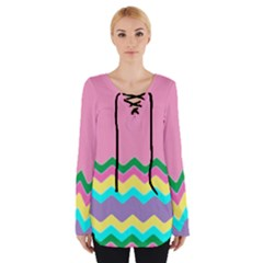 Easter Chevron Pattern Stripes Women s Tie Up Tee