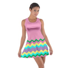 Easter Chevron Pattern Stripes Cotton Racerback Dress by Amaryn4rt