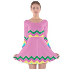 Easter Chevron Pattern Stripes Long Sleeve Velvet Skater Dress by Amaryn4rt