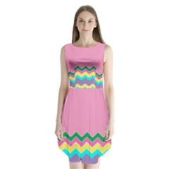 Easter Chevron Pattern Stripes Sleeveless Chiffon Dress   by Amaryn4rt